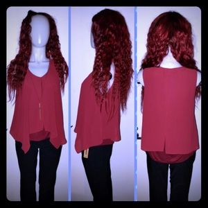Lily White Merlot/ burgundy colored blouse